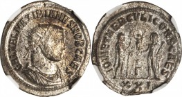 GALERIUS AS CAESAR, A.D. 293-305. BI Aurelianianus (3.18 gms), Antioch Mint. NGC MS, Strike: 5/5 Surface: 4/5. Silvering.