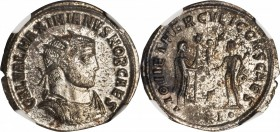 GALERIUS AS CAESAR, A.D. 293-305. BI Aurelianianus (3.55 gms), Antioch Mint. NGC MS, Strike: 5/5 Surface: 4/5. Silvering.