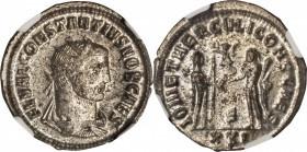 CONSTANTIUS I AS CAESAR, A.D. 293-305. BI Aurelianianus (3.90 gms), Antioch Mint. NGC MS, Strike: 5/5 Surface: 4/5. Silvering.