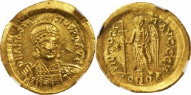 ANASTASIUS I, 491-518. AV Solidus (4.47 gms), Constantinople Mint, 8th Officinae. NGC MS, Strike: 5/5 Surface: 4/5.
