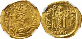 PHOCAS, 602-610. AV Solidus (4.40 gms), Constantinople Mint, 7th Officinae. NGC MS, Strike: 5/5 Surface: 4/5. Clipped.