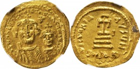 HERACLIUS, 610-641. AV Solidus (4.39 gms), Constantinople Mint, 7th Officinae. NGC MS, Strike: 3/5 Surface: 4/5. Die Shift.