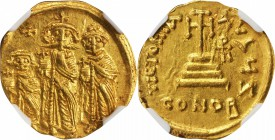 HERACLIUS, 610-641. AV Solidus (4.43 gms), Constantinople Mint, 7th Officinae. NGC MS, Strike: 5/5 Surface: 4/5. Clipped.
