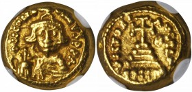 CONSTANS II, 641-668. AV Solidus (4.44 gms), Carthage Mint, Indiction Year 3 (A.D. 644/5). NGC Ch EF, Strike: 4/5 Surface: 5/5.