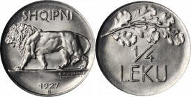 ALBANIA. 1/4 Leku, 1927-R. Rome Mint. NGC MS-67.