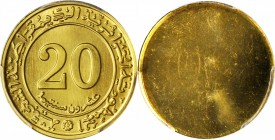 ALGERIA. Uniface Pattern 20 Centimes Obverse and Reverse Trial Strikes Struck in Gold, 1975. Both PCGS Gold Shield Certified.