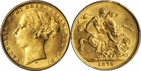 AUSTRALIA. Sovereign, 1876-M. Melbourne Mint. PCGS MS-64 Gold Shield.