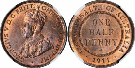AUSTRALIA. 1/2 Penny, 1911. NGC MS-64 RB.