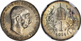 AUSTRIA. Corona, 1914. NGC MS-65.