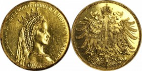 AUSTRIA. Medallic 4 Ducat, ND (ca. 1970's). AU - PREVIOUSLY MOUNTED.