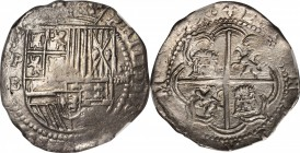 BOLIVIA. 8 Reales, ND (1574-86)-P B. Potosi Mint, Assayer B. Philip II. NGC EF-40.