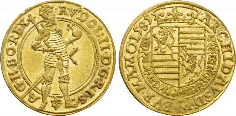 HOLY ROMAN EMPIRE. Rudolf II (1576-1612). GOLD Ducat (1585). Praha (Prague).