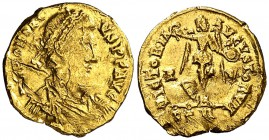 (408 d.C.). Honorio. Ravenna. Tremissis. (Spink 20940) (Co. 47) (RIC. 1338). 1,48 g. Golpes y rayas. (BC+).