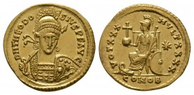Ancient Roman Imperial Coins - Theodosius II - Constantinople Gold Solidus