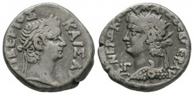 Ancient Roman Provincial Coins - Nero and Tiberius - Alexandria - Double Portrait Tetradrachm
