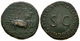 Ancient Roman Imperial Coins - Augustus (under Tiberius) - Elephant Car Sestertius