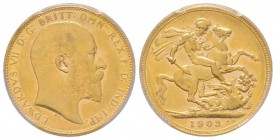 Edward VII 1901-1910 Sovereign, Perth, 1903 P, AU 7.98 g. 917‰ Ref: Fr. 34, KM#15, Spink 3972  Conservation: PCGS AU55