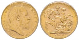 Edward VII 1901-1910 Sovereign, Perth, 1906 P, AU 7.98 g. 917‰ Ref: Fr. 34, KM#15, Spink 3972  Conservation: PCGS MS62