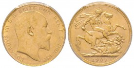 Edward VII 1901-1910 Sovereign, Perth, 1907 P, AU 7.98 g. 917‰ Ref: Fr. 34, KM#15, Spink 3972  Conservation: PCGS MS63