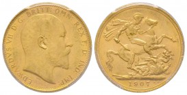 Edward VII 1901-1910 Sovereign, Sydney, 1907 S, AU 7.98 g. 917‰ Ref: Fr. 32, KM#15 , Spink 3973  Conservation: PCGS MS63