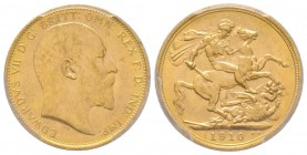 Edward VII 1901-1910 Sovereign, Melbourne, 1910 M, AU 7.98 g. 917‰ Ref: Fr. 33, KM#15, Spink 3971  Conservation: PCGS MS62
