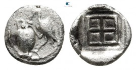 Macedon. Terone circa 420 BC. Hemiobol AR. Light Thraco-Macedonian standard