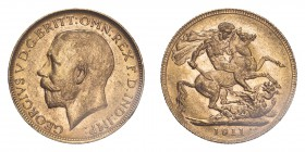 AUSTRALIA. George V, 1910-36. Sovereign, 1911 P, Perth, 7.99 g. S-4001; Marsh-250; KM-29; Fr-39.  Bare head of George V facing left, surrounding legen...