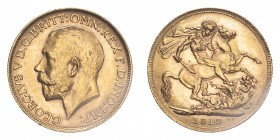 AUSTRALIA. George V, 1910-36. Sovereign, 1913 P, Perth, 7.99 g. S-4001; Marsh-252; KM-29; Fr-39.  Bare head of George V facing left, surrounding legen...