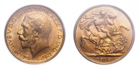 AUSTRALIA. George V, 1910-36. Sovereign, 1913 M, Melbourne, 7.99 g. S-3999; Marsh-231; KM-29; Fr-39.  Bare head of George V facing left, surrounding l...
