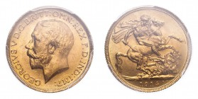 AUSTRALIA. George V, 1910-36. Sovereign, 1914 S, Sydney, 7.99 g. S-4003; Marsh-274; KM-29; Fr-39.  Bare head of George V facing left, surrounding lege...