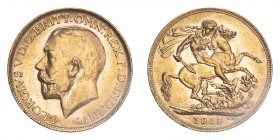 AUSTRALIA. George V, 1910-36. Sovereign, 1915 P, Perth, 7.99 g. S-4001; Marsh-254; KM-29; Fr-39.  Bare head of George V facing left, surrounding legen...