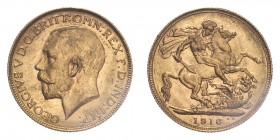 AUSTRALIA. George V, 1910-36. Sovereign, 1916 P, Perth, Scarce. 7.99 g. S-4001; Marsh-255; KM-29; Fr-39.  Bare head of George V facing left, surroundi...