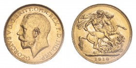 AUSTRALIA. George V, 1910-36. Sovereign, 1918 P, Perth, 7.99 g. S-4001; Marsh-257; KM-29; Fr-39.  Bare head of George V facing left, surrounding legen...