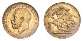 AUSTRALIA. George V, 1910-36. Sovereign, 1919 P, Perth, 7.99 g. S-4001; Marsh-258; KM-29; Fr-39.  Bare head of George V facing left, surrounding legen...