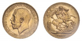 AUSTRALIA. George V, 1910-36. Sovereign, 1920 P, Perth, 7.99 g. S-4001; Marsh-259; KM-29; Fr-39.  Bare head of George V facing left, surrounding legen...