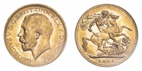 AUSTRALIA. George V, 1910-36. Sovereign, 1921 P, Perth, 7.99 g. S-4001; Marsh-260; KM-29; Fr-39.  Bare head of George V facing left, surrounding legen...