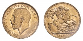 AUSTRALIA. George V, 1910-36. Sovereign, 1922 P, Perth, 7.99 g. S-4001; Marsh-261; KM-29; Fr-39.  Bare head of George V facing left, surrounding legen...