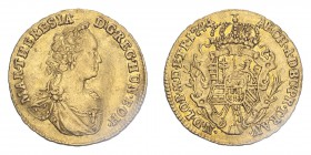 AUSTRIA. Maria Theresia. Ducat, 1744, Karlsburg / Siebenbürgen, Very Rare. -4.00 g. Fr-542 var., Herinek 196, HuszS. 956.  Very fine, slightly creased...