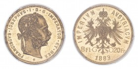 AUSTRIA: HABSBURG. Franz Joseph I, 1848-1916. 8 Florins / 20 Francs, 1883, Vienna, 6.45 g. KM-2269.  Laureate head of Franz Joseph facing right. / Aus...