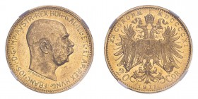 AUSTRIA. Franz Josef I, 1848-1916. 20 Corona, 1911, Vienna, 6.78 g. KM-2818.  In secure plastic holder, graded by NGC MS61, certification number 39257...