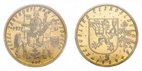 CZECHOSLOVAKIA. Republic, 1918-39. 5 Ducats, 1929, Kremnitz, 17.46 g. KM-13; Fr-5.  Very popular and scarce, low mintage commemorative multiple ducat....