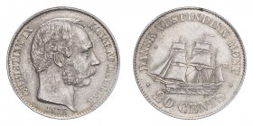 DANISH WEST INDIES. Christian IX, 1863-1906. 20 Cents, 1878, Copenhagen, 6.96 g. KM-71..  Popular type/design. Scarce in this grade. About uncirculate...