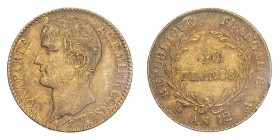 FRANCE. Napoleon I, 1804-14, 1815. 40 Francs, An 12 (1803) A, Paris, 12.90 g. Fr-480; Gad-1080; F-536; KM-652.  Bare head of Napoleon facing left, eng...