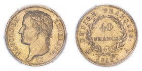 FRANCE. Napoleon I, 1804-14, 1815. 40 Francs, 1811 A, Paris, 12.90 g. Fr-505; Gad-1084; F-541; KM-696.  Laureate head of Napoleon facing left, surroun...