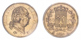 FRANCE. Louis XVIII, 1814-15, 1815-24. 40 Francs, 1824 A, Paris, 12.90 g. Fr-532; Gad-1092; F-542; KM-713.  Bare head of Louis XVIII facing right, leg...