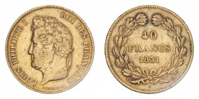 FRANCE. Louis Philippe I, 1830-48. 40 Francs, 1831 A, Paris, 12.90 g. KM-747.