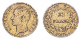 FRANCE. Napoleon I. 20 Francs, An 14 A (1805), Paris, 6.45 g. Fr-487a; Gad-1022; KM-663.  Bare head of Napoleon facing left, surrounding legend reads ...