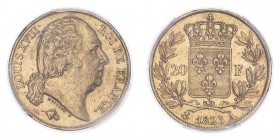 FRANCE. Louis XVIII, 1814-15, 1815-24. 20 Francs, 1823 A, Paris, 6.45 g. Fr-538; Gad-1028; KM-712.  Head of Louis XVIII facing right, legend reads LOU...