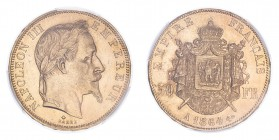 FRANCE. Napoleon III, 1852-70. 50 Francs, 1864 A, Paris, 16.13 g. Fr-582; Gad-1112; F-548; KM-804.  Laureate head of Napoleon III facing right, NAPOLE...