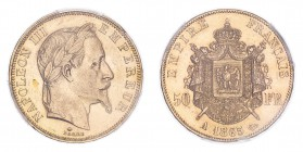 FRANCE. Napoleon III, 1852-70. 50 Francs, 1865 A, Paris, 16.13 g. Fr-582; Gad-1112; F-548; KM-804.  Laureate head of Napoleon III facing right, NAPOLE...